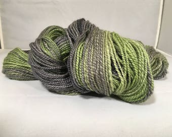 """Handspun Hand Dyed BFL Wool Yarn - Sport weight - 230 yards, 3.5 ounces - """"Military Green"""" (green and gray gradient))"""
