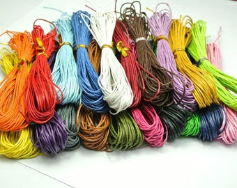 Lot 10 m of cotton yarn Mix waxed 1 mm for several bracelets 10x1m