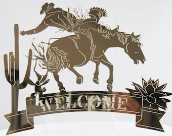 Cowboy Acrylic Mirror Welcome Sign