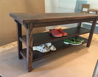 """Hallway / Mud Room / Foyer Bench 36"""" With Two Shoe Shelves In Your Choice Of Color"""