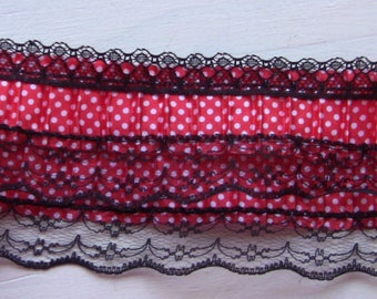 Red pleated lace has white polka dots and black wide 7 cm