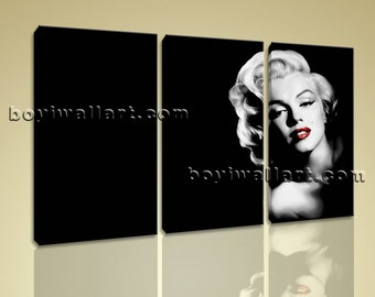 """Portrait Print Marilyn Monroe Wall Art Contemporary Home Decor Stretched Canvas, Marilyn Monroe picture,  size art print, 44""""x28"""""""