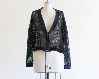 Vintage Sheer Knit Oversized Jacket / Cropped Jacket / Navy Mesh Jacket / 90's Vintage / M L