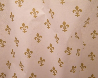"Tissue Paper - Fleur De Lis Gold and White - 12 Sheets of 20"" by 30"" -DIY Wedding Decor - Gift Wrap Idea - Favor Box Packaging"