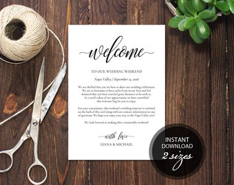 Editable PDF Wedding Itinerary Card Welcome Bag Note Calligraphic Welcome Letter Template Instant download card DIY Printable card #DP110_40