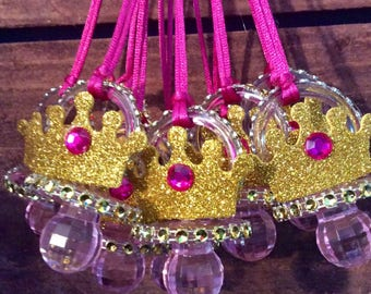 Fuchsia princess baby shower pacifier/fuchsia princess baby necklace game/fuchsia princess favors/fuchsia princess baby shower