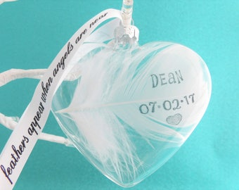 Personalised Real White Feather Memorial Heart Bauble Custom Name / Date Glass Hanging Decoration Memory Sympathy Remembrance Keepsake