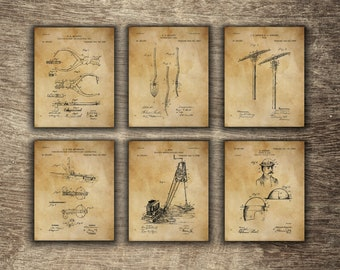 Mining Tools Set of 6 Prints, Mining Poster, Mining Printable, Gift for Miner, Mining Group of 6 Patents - INSTANT DOWNLOAD -