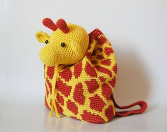 Crochet pattern for giraffe backpack. Cute and practical accessory for kids. Charts with symbols, written instructions, photo tutorial.