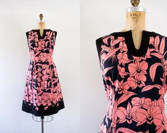 1960s Botanic Breeze cotton floral dress / 60s flower quilting