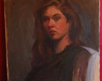 18 x 24 portrait of a girl oil on canvas 1960's