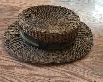 Vintage Men's Straw Boater Skimmer Barbershop Hat unmarked 1920s-30s
