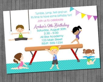 Gymnastics Birthday Invitation DIY Printable Digital File