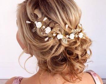 Wedding Hair Vine, Bridal Headband, Bridal Hair Vine, Wedding Hair Accessories, Wedding Hair Wreath, Bridal Vine Headband, Boho Bridal Vine