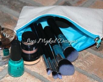 Monogram Cosmetic Bag, Monogram Makeup Bag, Personalized Cosmetic Bag, Canvas Cosmetic Bag, Bridesmaid Gift