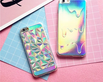 Luxury Bright Hologram Geometric Case Holographic Iridescent Card Rainbow Triangle Pastel Melting Soft Case iPhone 8 7 Plus 6 6S 5 5S SE