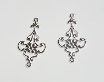 10 Filigree Flower teardrop connector links shiny silver plated brass component 28.5x14.5mm K7901FD