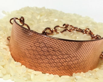 textured copper wide bracelet