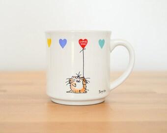 Sandra Boynton Mug • Love You Coffee Cup • Rainbow Heart-Shaped Balloons • 80s Cat Comic • 90s Kitty Cartoon • Recylced Paper Products Japan