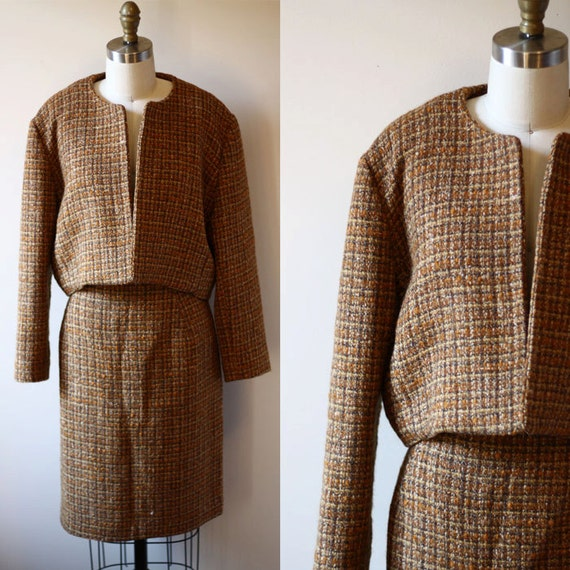 1960s brown tweed two piece suit // navy blue // vintage suit