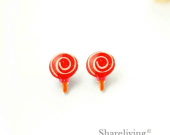 4pcs (2 pairs) Mini Lollipop Charm / Pendant, Stud Earring, Laser Cut Tiny Lollipop Earring, Perfect for Earring / Rings - YED020W