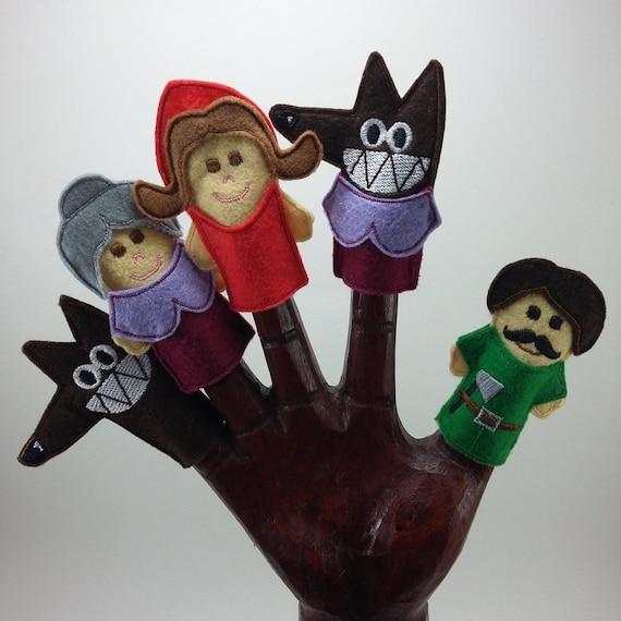 Marionetas del Cuento de Caperucita Roja. Felt Finger Puppets