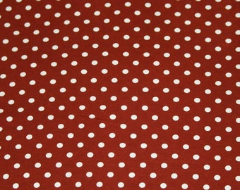 Knit Brown with Small White Dots Fabric 1 yard