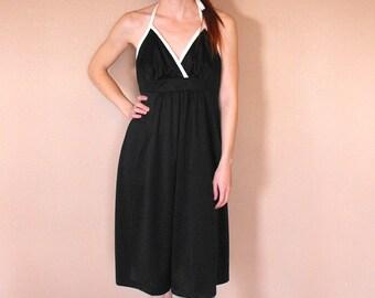 70s Black Halter Dress Summer Sun Vintage Casual 1970s S