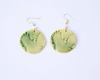 American Eagle Earrings, porcelain, green