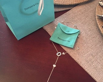 MINT!!  Beautiful Tiffany & Co. Sterling Silver Heart Lariat Necklace