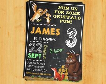 Gruffalo Invitation,Gruffalo Birthday Invitation,Gruffalo chalkboard invitation.Gruffalo blackboard.Gruffalo themed party.Gruffalo digital