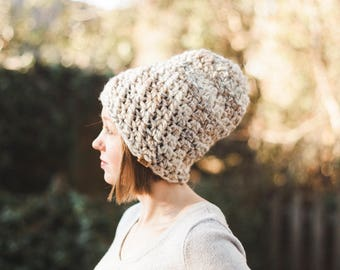 Voyager Slouchy Crochet Beanie--Chunky--Neutral