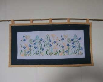 Embroidered tapestry - flowers - harebell - grass