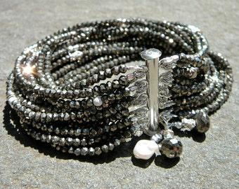 Pyrite, Pyrite Bracelet, Pyrite Jewelry, Gunmetal Jewelry, Gunmetal Bracelet, Bali Beads, Sterling Silver Bracelet, Gemstone Bracelet