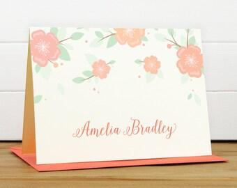 Custom Stationery / Custom Stationary - ANEMONE Custom Note Card Set - Flower Feminine Pretty