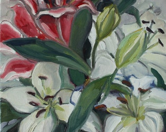 White and Pink Lillies, original oil painting, white and pink,  flowers, floral, still life, original, square, one of a kind, realism