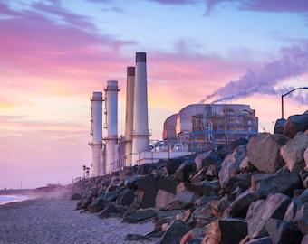 Steampunk Powerplant Sunset on Beach Surf Photography Decor Print Ocean Hawaii, Maui, Oahu, Kauai, Clean Energy, California, Florida