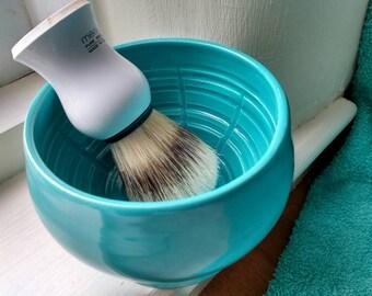 Large Wet Shaving Bowl - Handmade UK -Shaving Accessories - Shaving Mug - Shaving Cup - Gifts for Men - Aqua/Turquoise