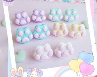 Kitty Paw stud earrings pastel fairy kei
