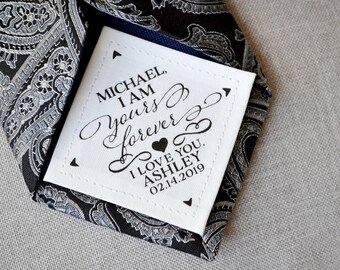 Groom Wedding Gift • Personalized Tie Patch • I am Yours Forever • 2nd Anniversary Cotton • Suit Label • For Him • Love • For Her • Custom