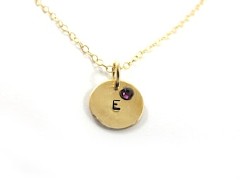 Personalized necklace, Hand stamped  necklace, Initial Necklace, birthstone necklace, 14k gold-filled necklace, personalized jewelry