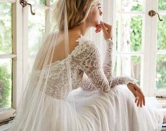 Long Sleeve Wedding Dress, Scoop Back Wedding Dress, Wear Your Love Zoey Dress, Silk Chiffon Wedding Dress - Zoey Scoop-Back