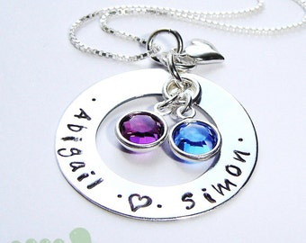 SALES -  Women necklace- Personalized jewelry - handstamped mother necklace - Birthstone necklace