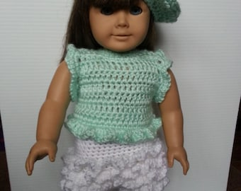 Hand Crocheted American Girl Doll outfit hat top skirt