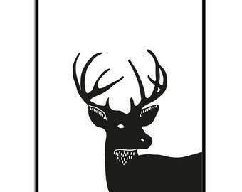 Deer Head Print | Stag Print | Black White Art Print | Instant Download | Digital Art | Deer Head Gift Print | Deer Print | Stag Head Print