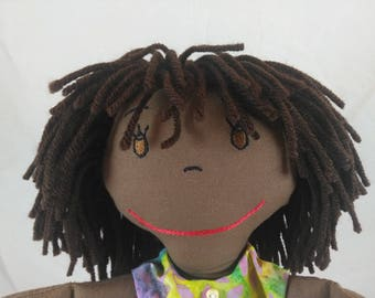 Custom Cloth Rag Doll, African American Rag Dolls, Embroidered Face, Personalized Rag Dolls, Shower gift, Fabric Doll, Stuffed Doll