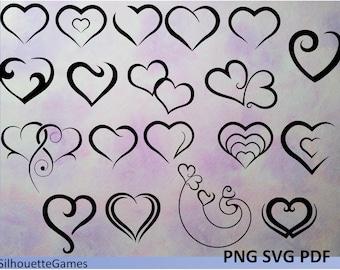 Heart Clip Art, Heart Shapes, PNG,SVG, JPG, Valentine Hearts, Line Art,