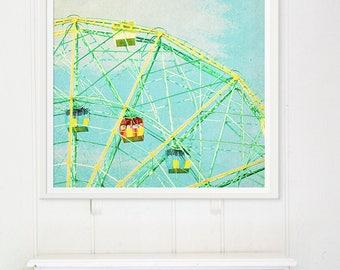 Iconic Wonder Wheel Ride Coney Island Brooklyn // Large Oversize Ferris Wheel Art Print // Modern Kid's Room Art // Ferris Wheel