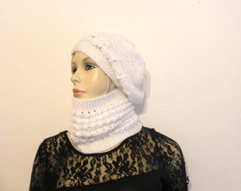 "COLLAR SNOOD and white ""acrylic"" hand knit hat women winter fashion accessories"