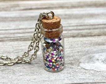 Multicolor Glitter Bottle, Glitter Bottle Necklace, Multicolor Glitter Necklace, Multicolor Bottle Necklace, Glass Bottle Necklace